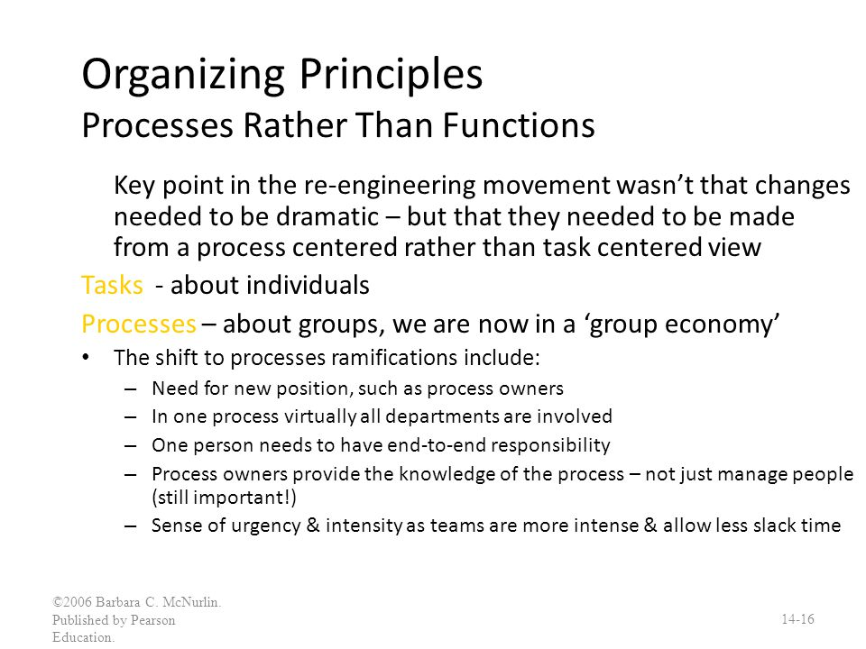 Organizing Principles Processes Rather Than Functions