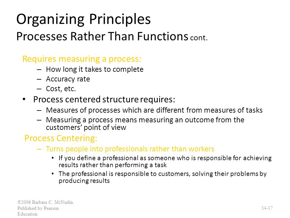 Organizing Principles Processes Rather Than Functions cont.