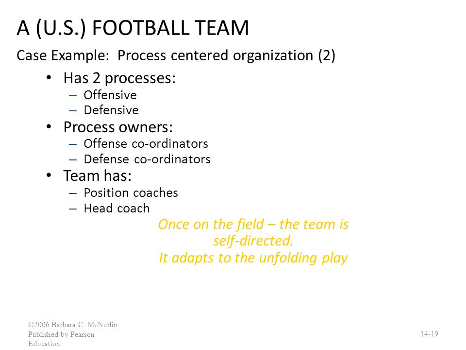A (U.S.) FOOTBALL TEAM Case Example: Process centered organization (2)