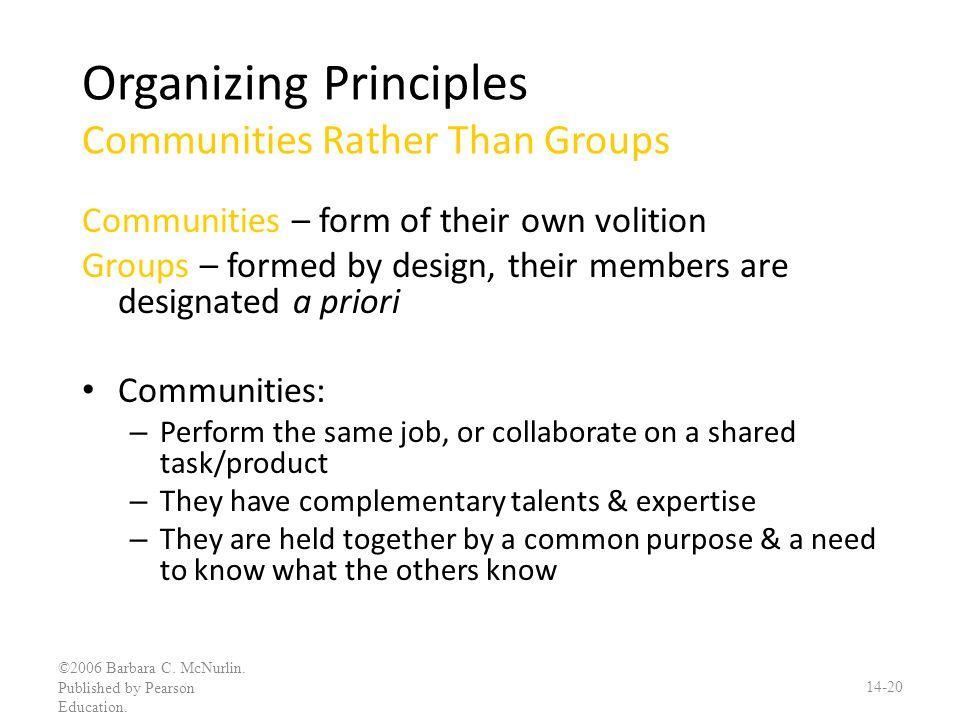 Organizing Principles Communities Rather Than Groups