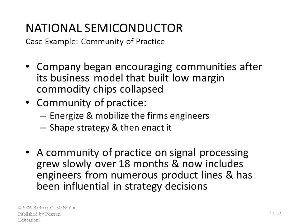 NATIONAL SEMICONDUCTOR Case Example: Community of Practice