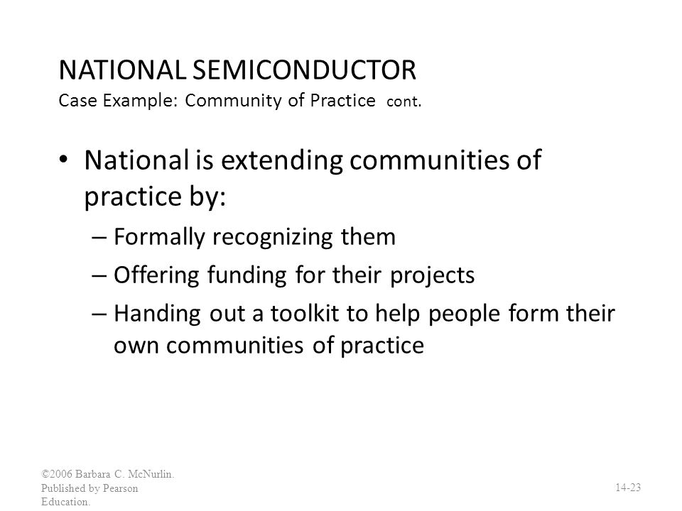 NATIONAL SEMICONDUCTOR Case Example: Community of Practice cont.
