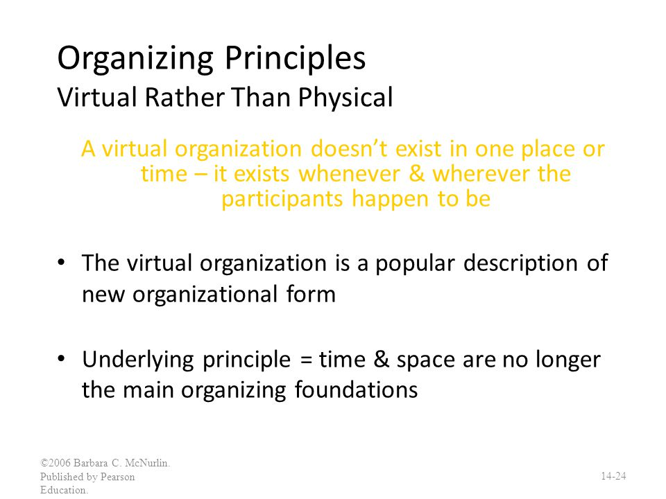Organizing Principles Virtual Rather Than Physical