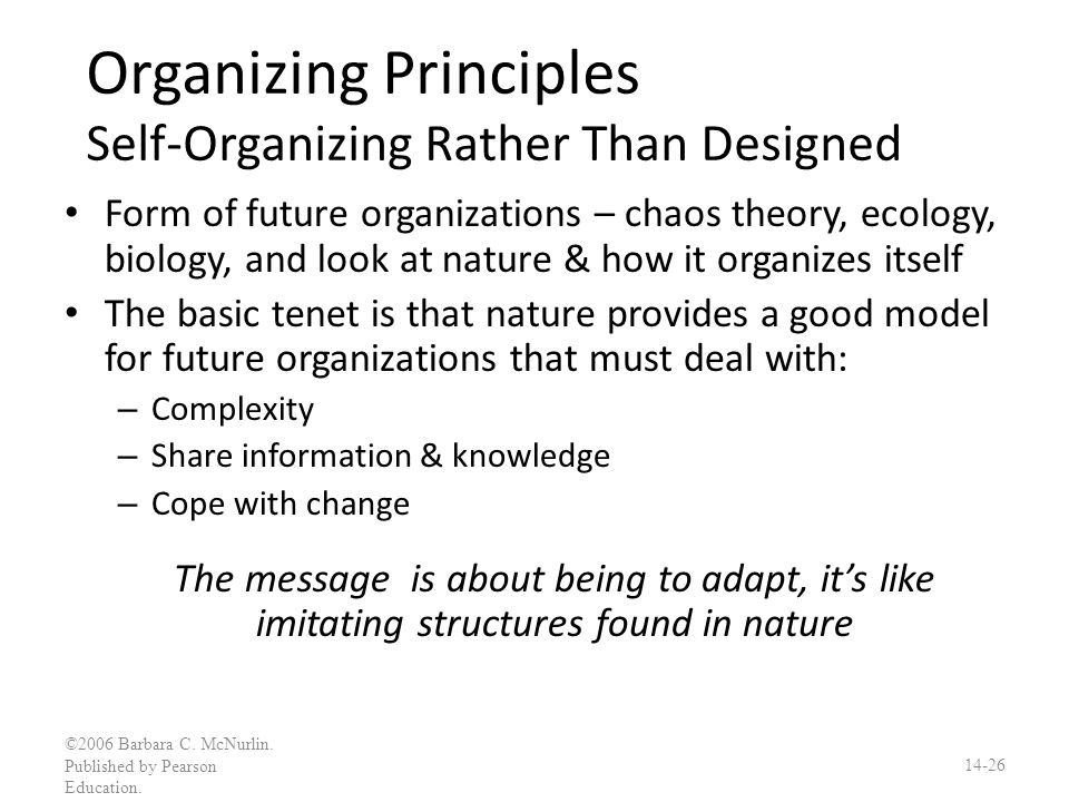 Organizing Principles Self-Organizing Rather Than Designed
