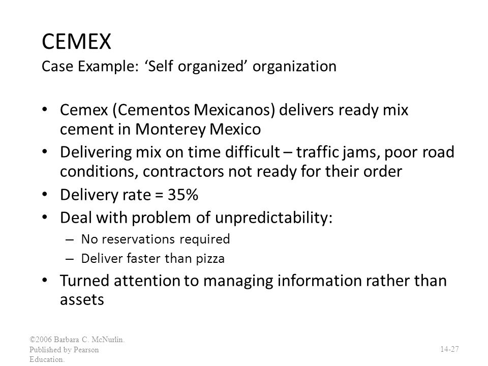 CEMEX Case Example: 'Self organized' organization