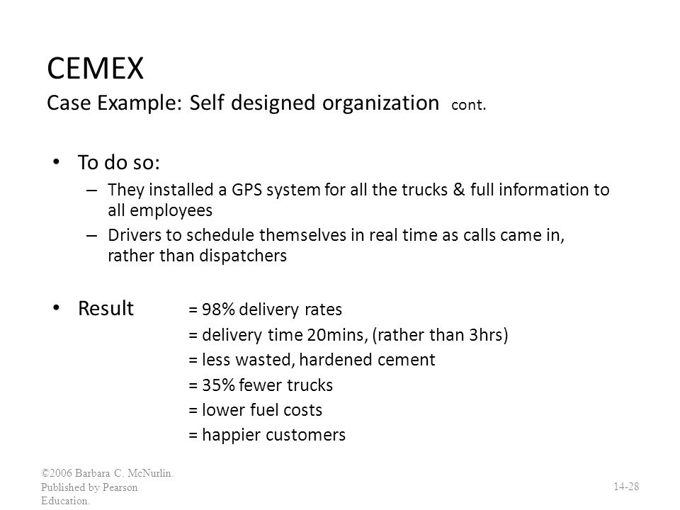 CEMEX Case Example: Self designed organization cont.