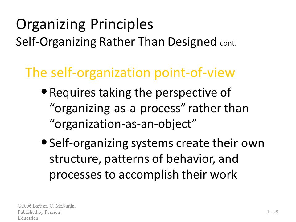 Organizing Principles Self-Organizing Rather Than Designed cont.