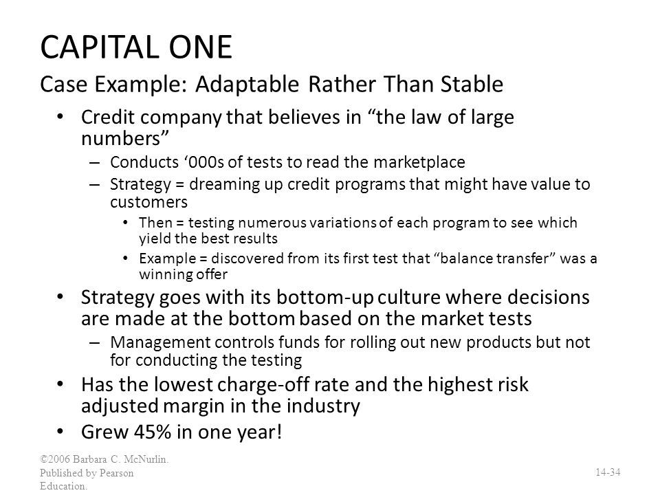 CAPITAL ONE Case Example: Adaptable Rather Than Stable