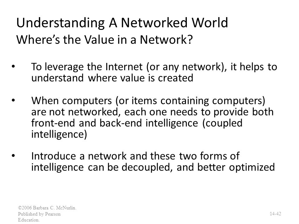 Understanding A Networked World Where's the Value in a Network