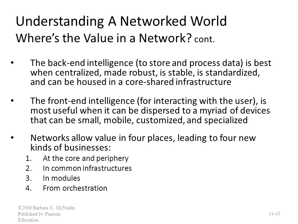 Understanding A Networked World Where's the Value in a Network cont.