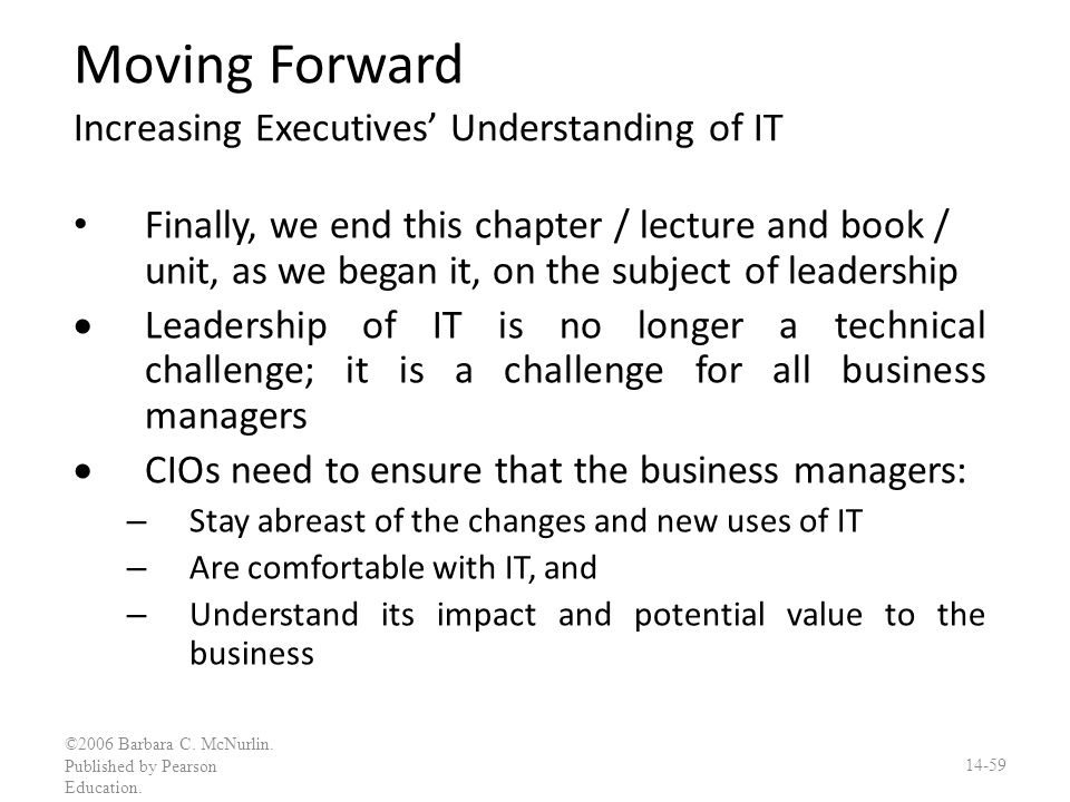 Moving Forward Increasing Executives' Understanding of IT