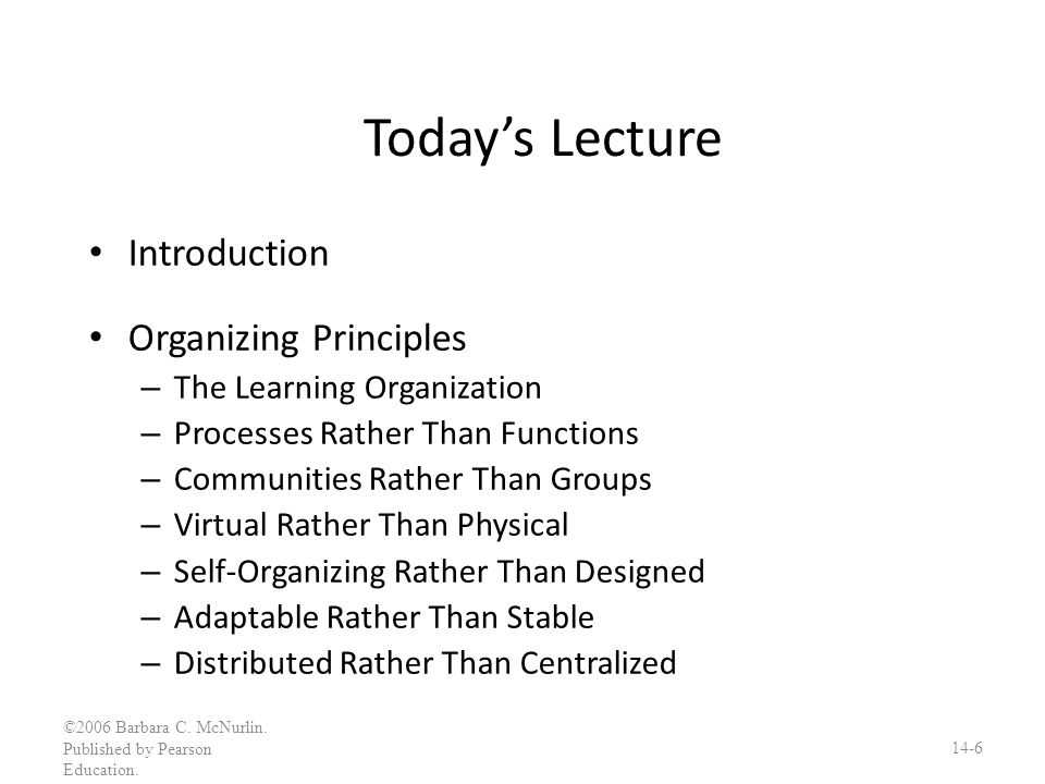 Today's Lecture Introduction Organizing Principles