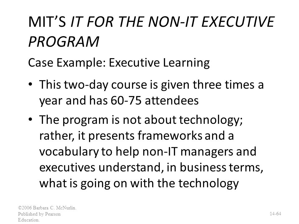 MIT'S IT FOR THE NON-IT EXECUTIVE PROGRAM Case Example: Executive Learning