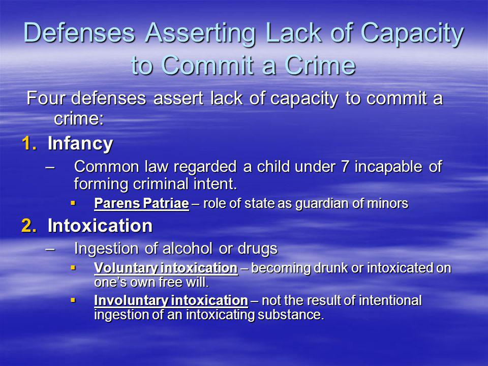Defenses Asserting Lack of Capacity to Commit a Crime