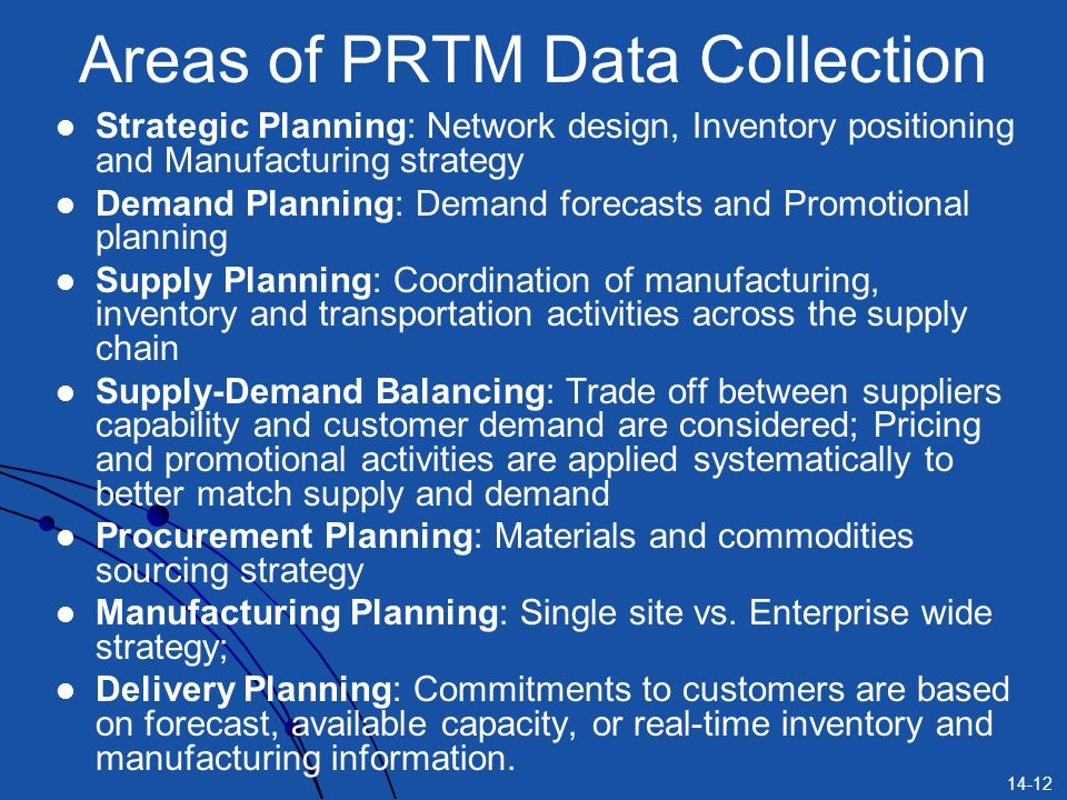 Areas of PRTM Data Collection