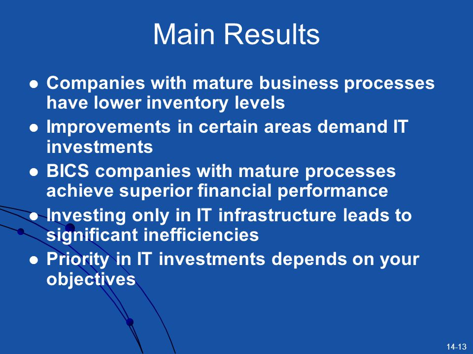 Main Results Companies with mature business processes have lower inventory levels. Improvements in certain areas demand IT investments.