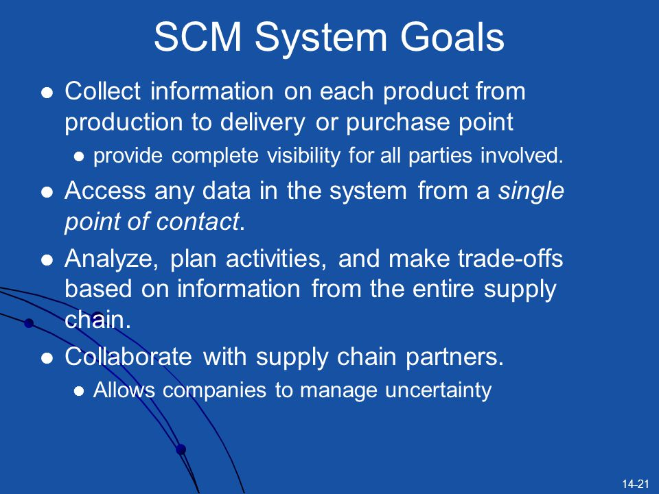 SCM System Goals Collect information on each product from production to delivery or purchase point.