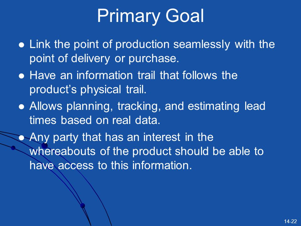 Primary Goal Link the point of production seamlessly with the point of delivery or purchase.