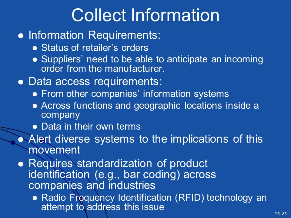 Collect Information Information Requirements: