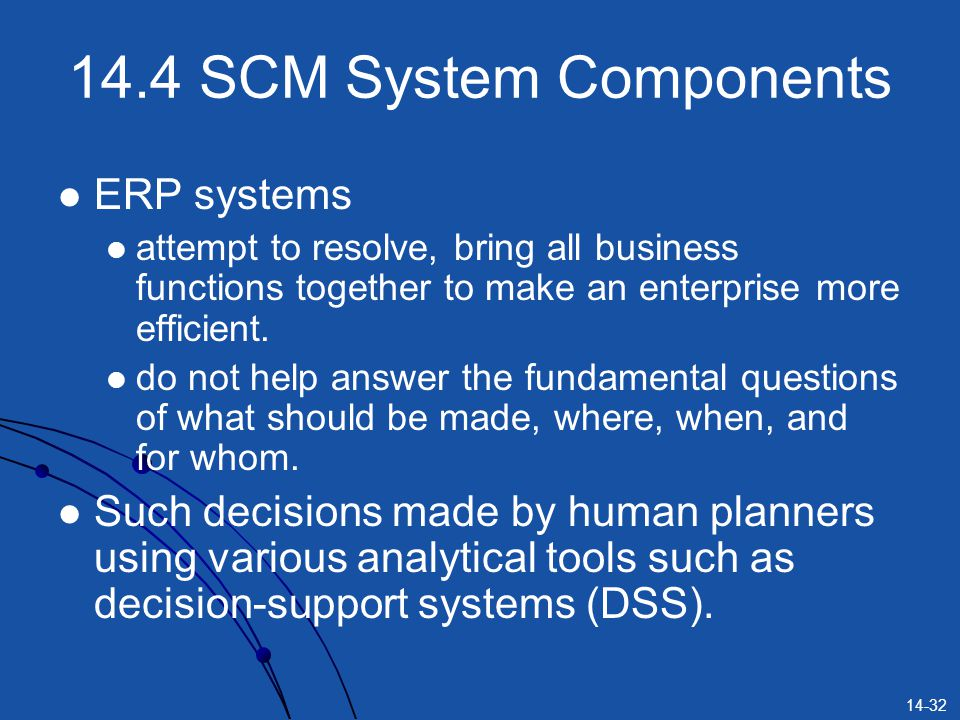14.4 SCM System Components ERP systems