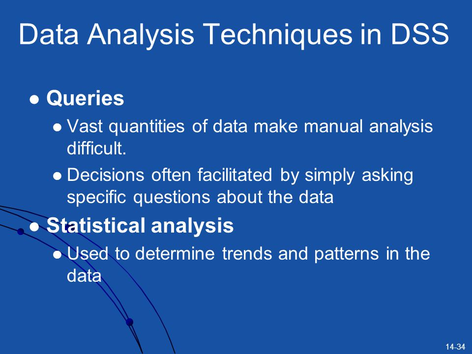 Data Analysis Techniques in DSS