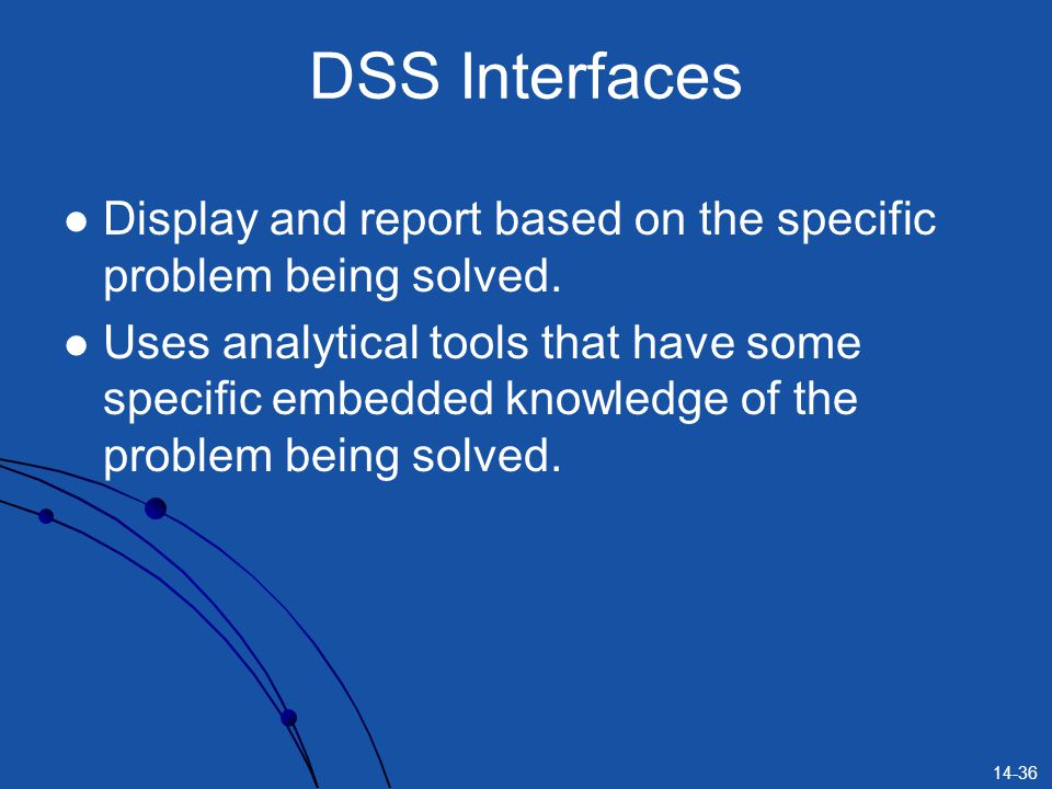 DSS Interfaces Display and report based on the specific problem being solved.