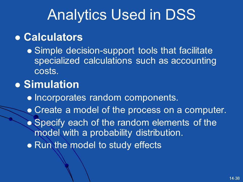 Analytics Used in DSS Calculators Simulation