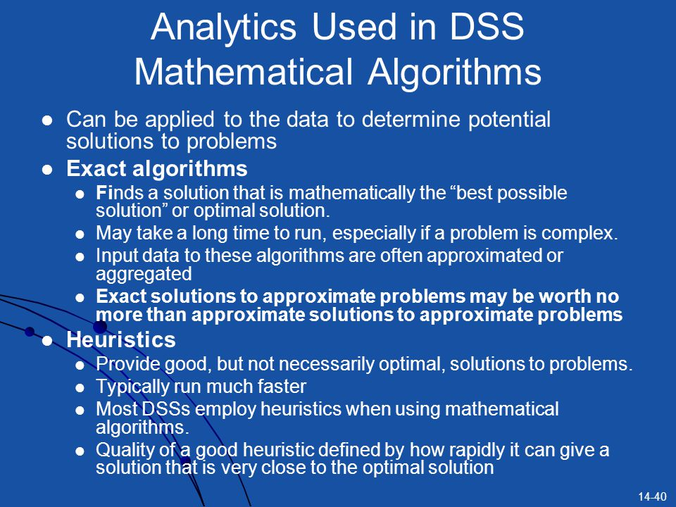 Analytics Used in DSS Mathematical Algorithms