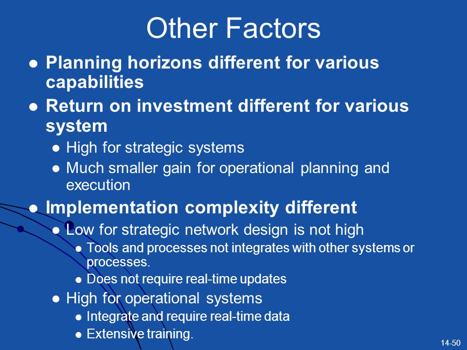 Other Factors Planning horizons different for various capabilities
