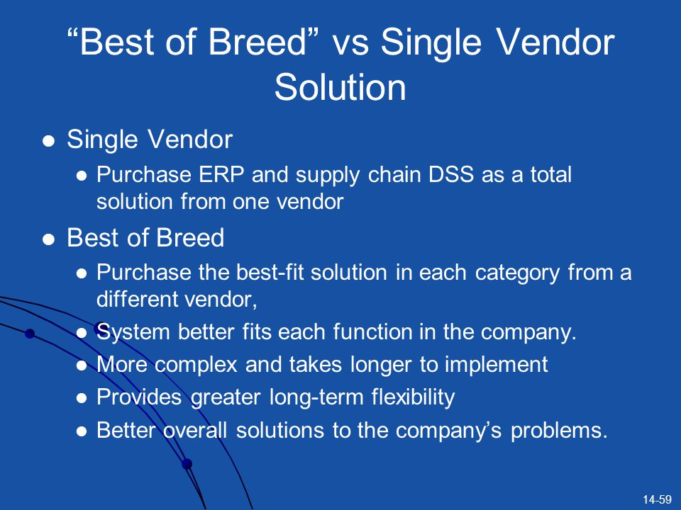 Best of Breed vs Single Vendor Solution