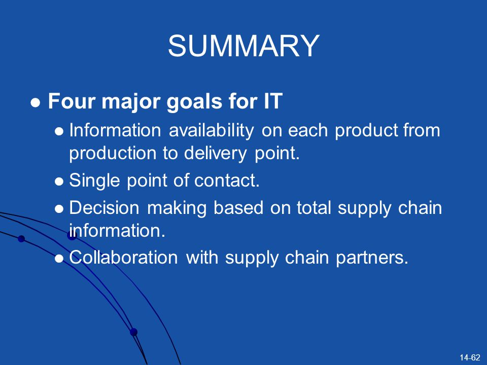 SUMMARY Four major goals for IT