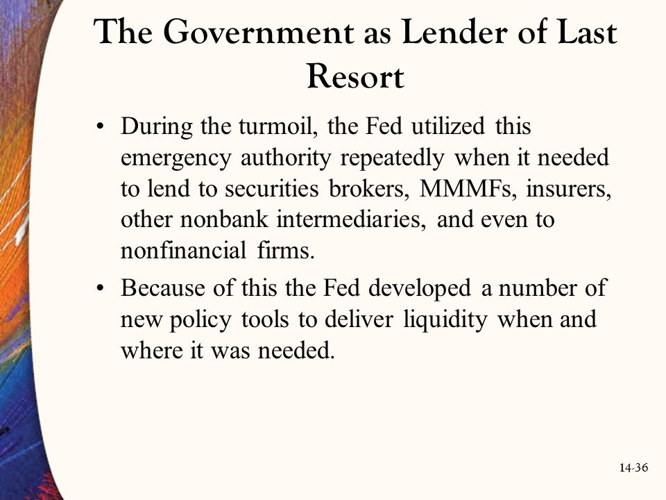 The Government as Lender of Last Resort