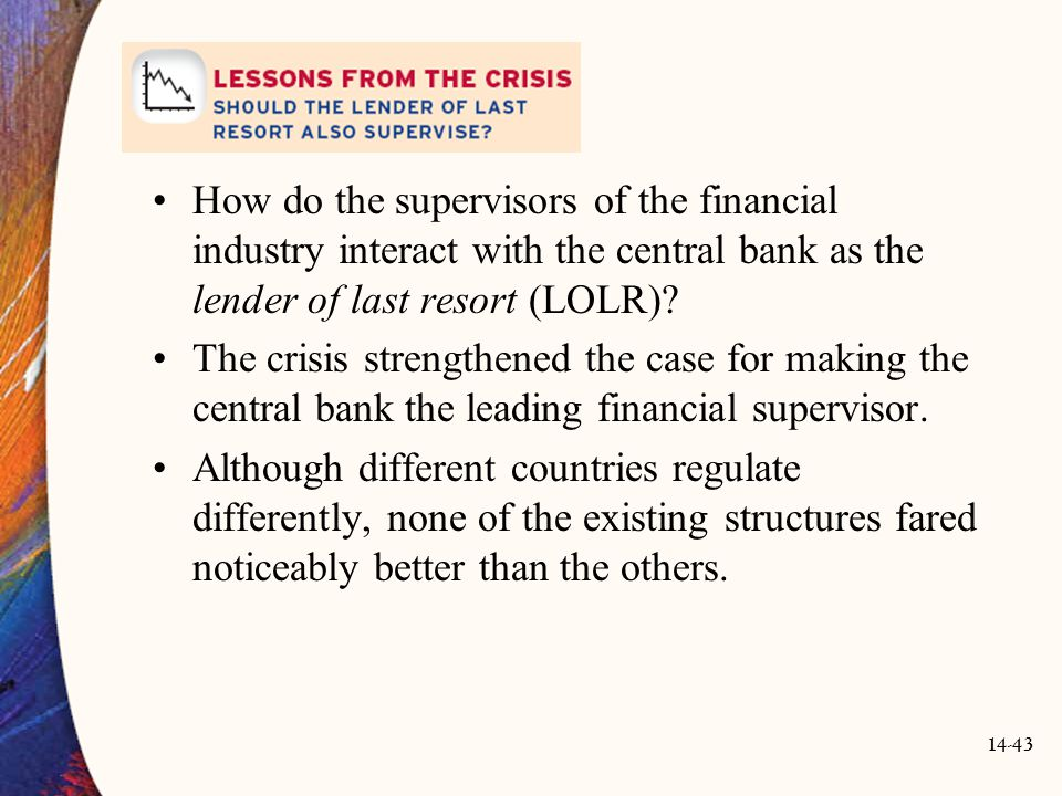How do the supervisors of the financial industry interact with the central bank as the lender of last resort (LOLR)