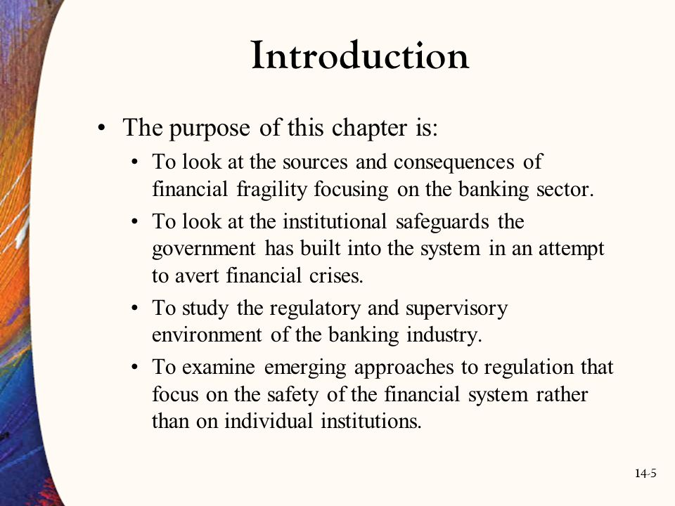 Introduction The purpose of this chapter is: