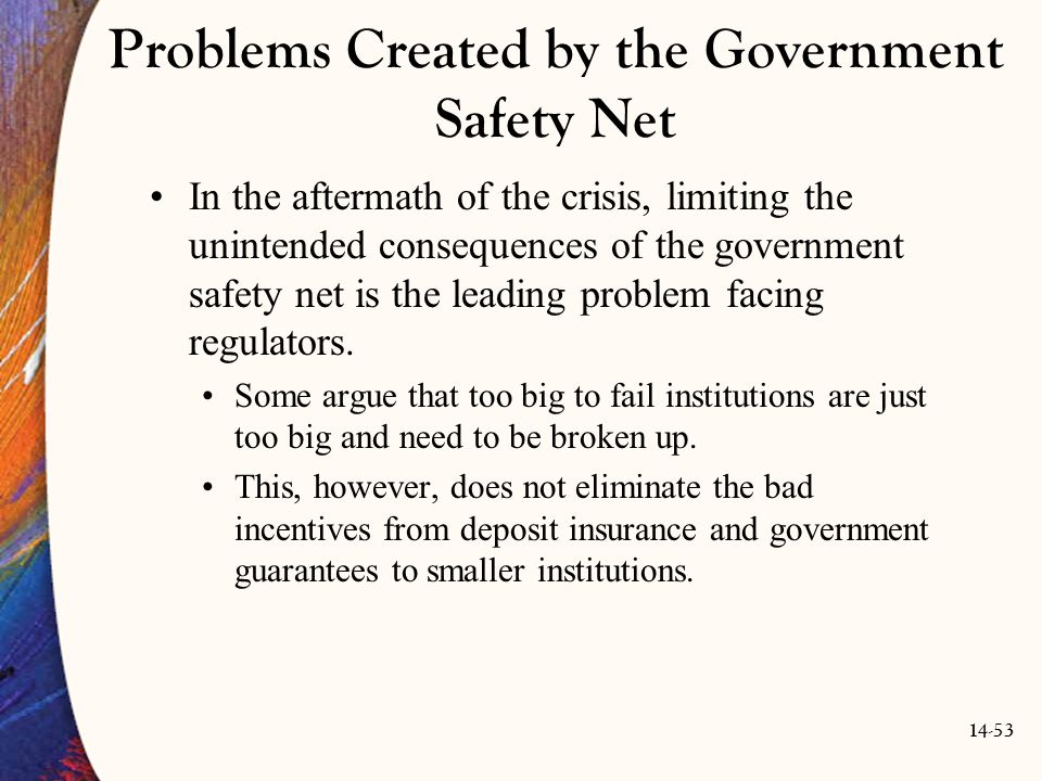 Problems Created by the Government Safety Net
