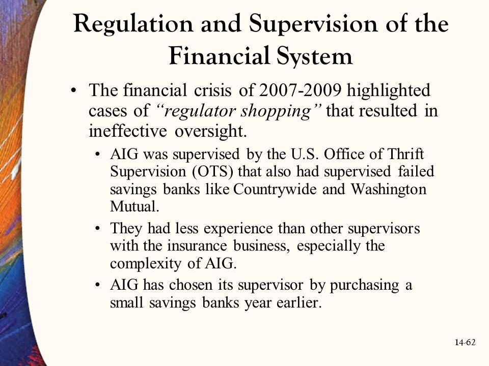 Regulation and Supervision of the Financial System