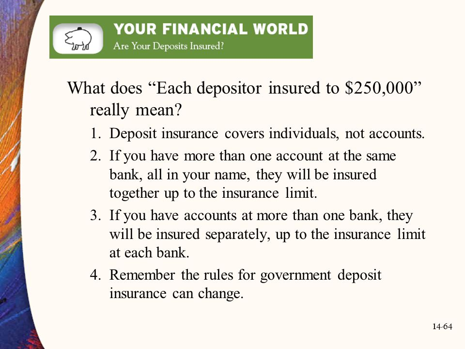 What does Each depositor insured to $250,000 really mean