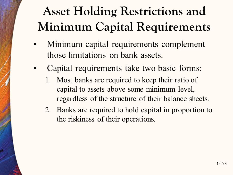Asset Holding Restrictions and Minimum Capital Requirements