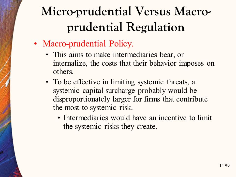 Micro-prudential Versus Macro-prudential Regulation
