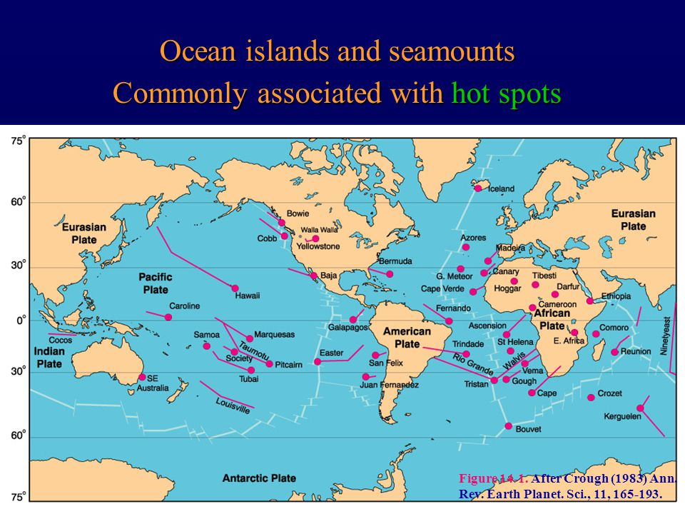Ocean islands and seamounts Commonly associated with hot spots