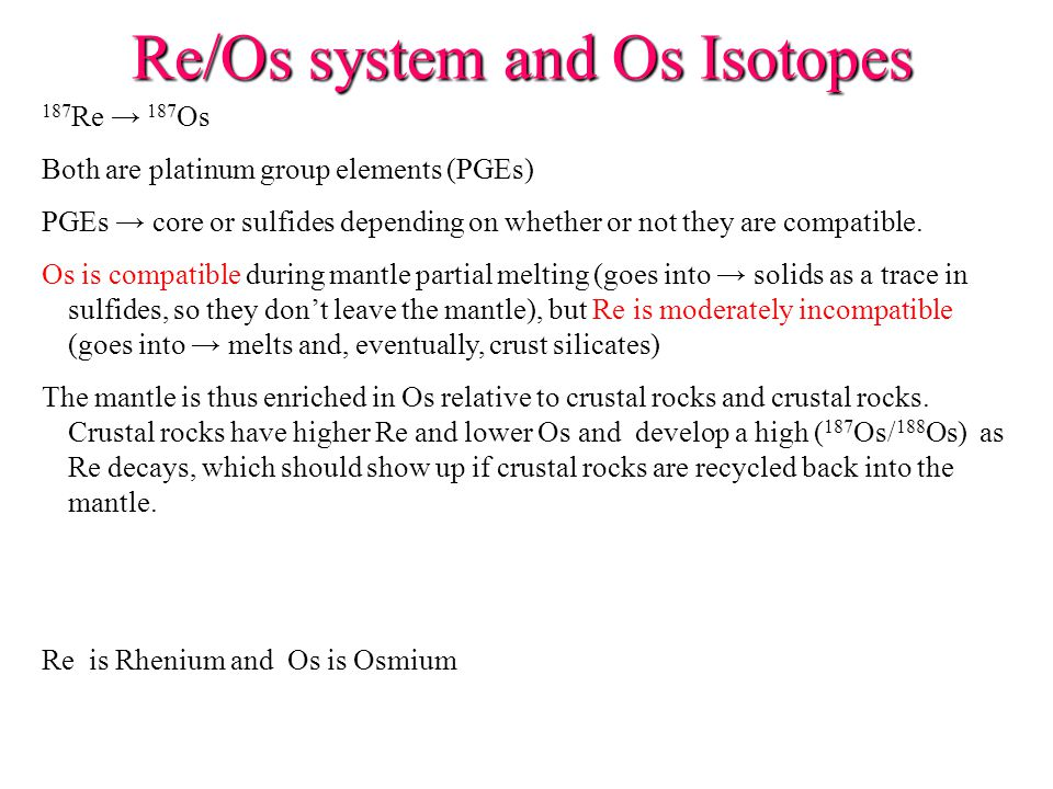 Re/Os system and Os Isotopes