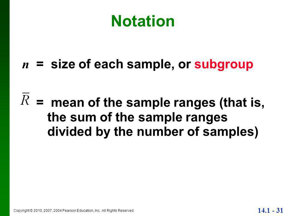 Notation n = size of each sample, or subgroup