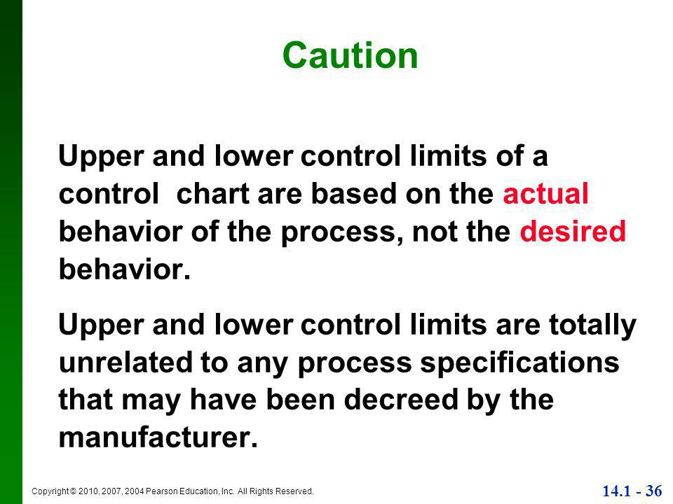 Caution Upper and lower control limits of a control chart are based on the actual behavior of the process, not the desired behavior.