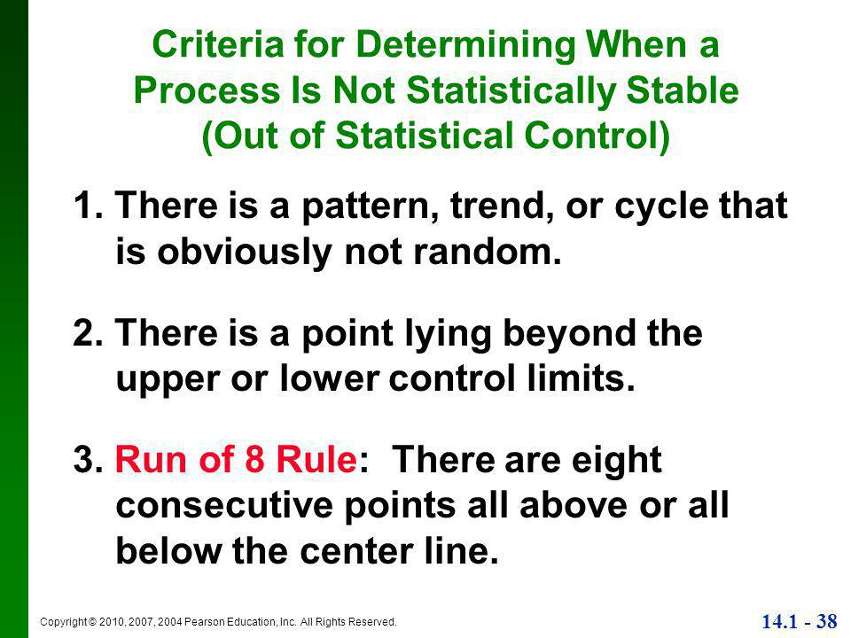 Criteria for Determining When a Process Is Not Statistically Stable (Out of Statistical Control)