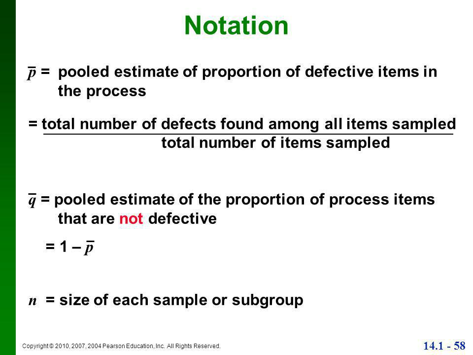 Notation p = pooled estimate of proportion of defective items in the process. = total number of defects found among all items sampled.