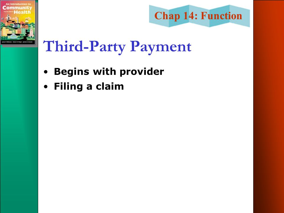 Third-Party Payment Begins with provider Filing a claim