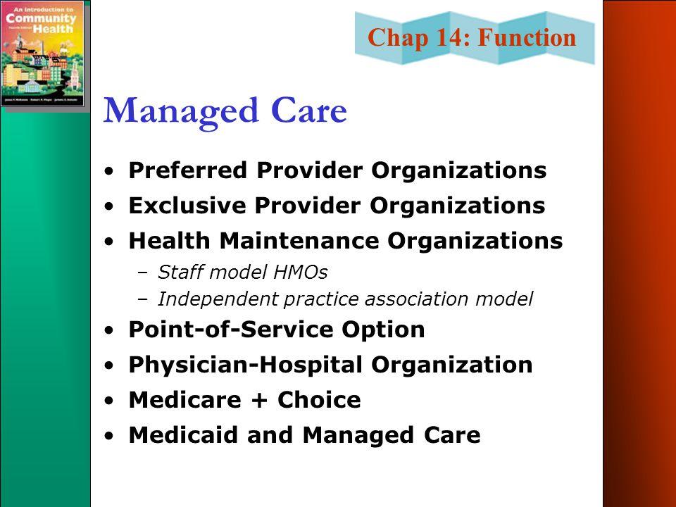 Managed Care Preferred Provider Organizations