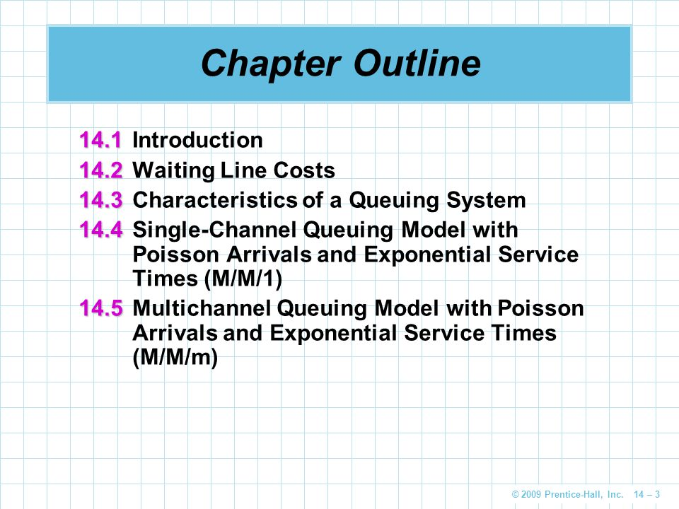 Chapter Outline 14.1 Introduction 14.2 Waiting Line Costs
