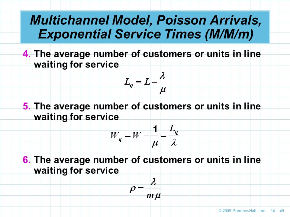 Multichannel Model, Poisson Arrivals, Exponential Service Times (M/M/m)