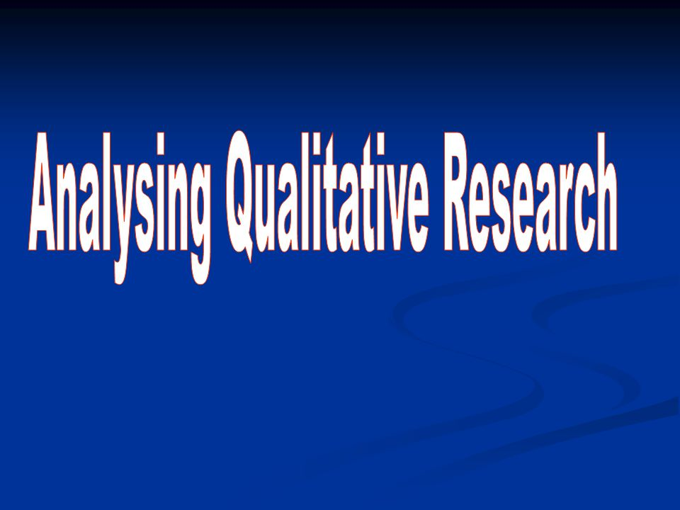 Analysing Qualitative Research
